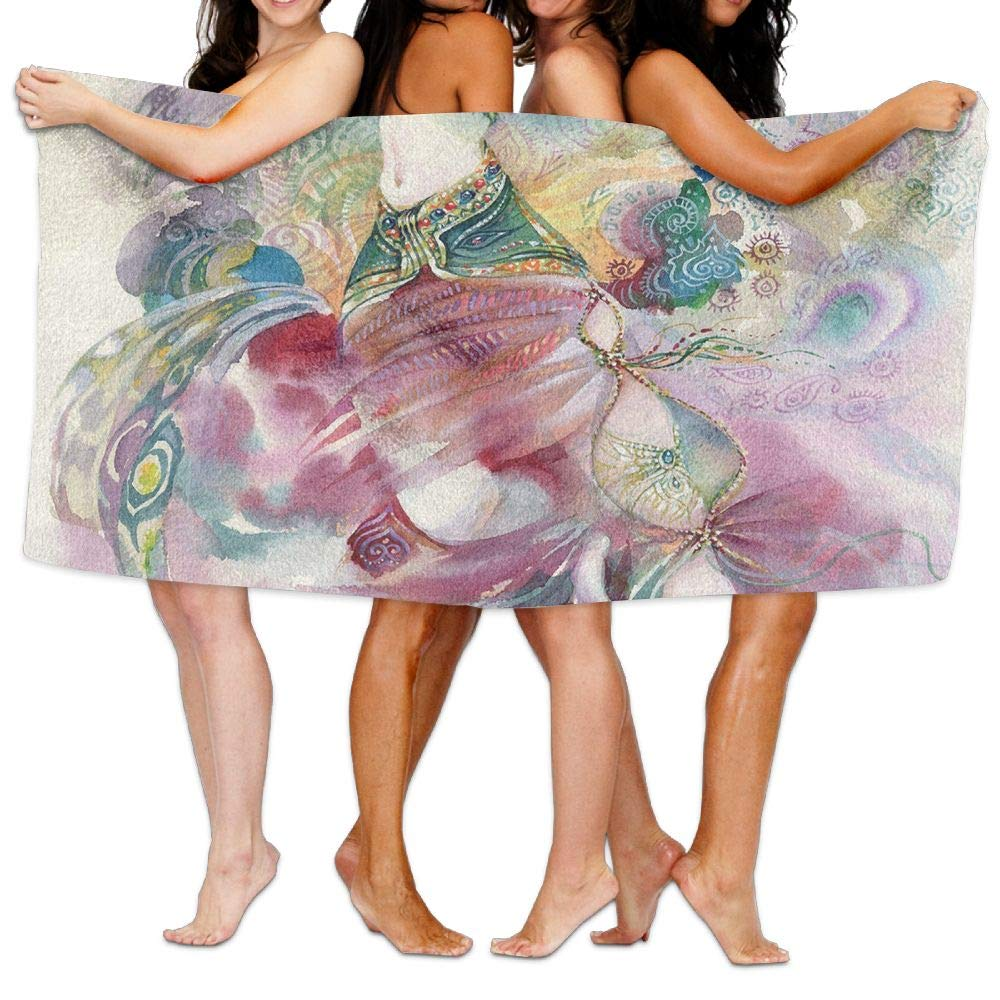Haixia Super Soft Bath Towel Watercolor Oriental Dance Theme Young Girl Performing in Traditional Costume Fantasy Figure Decorative