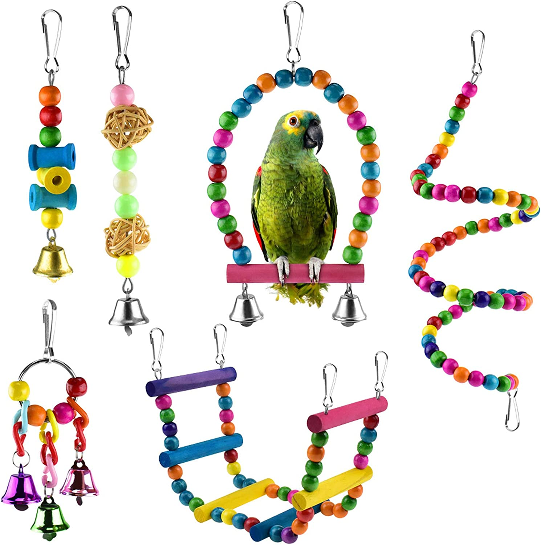 Amazon Com Katumo 6 Pcs Bird Parrot Toys Bird Swing Toy Colorful Chewing Hanging Hammock Swing Bell Pet Climbing Ladders Toys Bird Toys For Parrots Parakeet Conure Cockatiel Mynah Love Birds