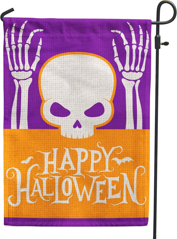 Happy Halloween Garden Flag | Pumpkin12.5 x18 Inch Burlap Double Sided Vertical Outdoor Outside & Yard Flag - Halloween Skeleton Decoration Flag 028