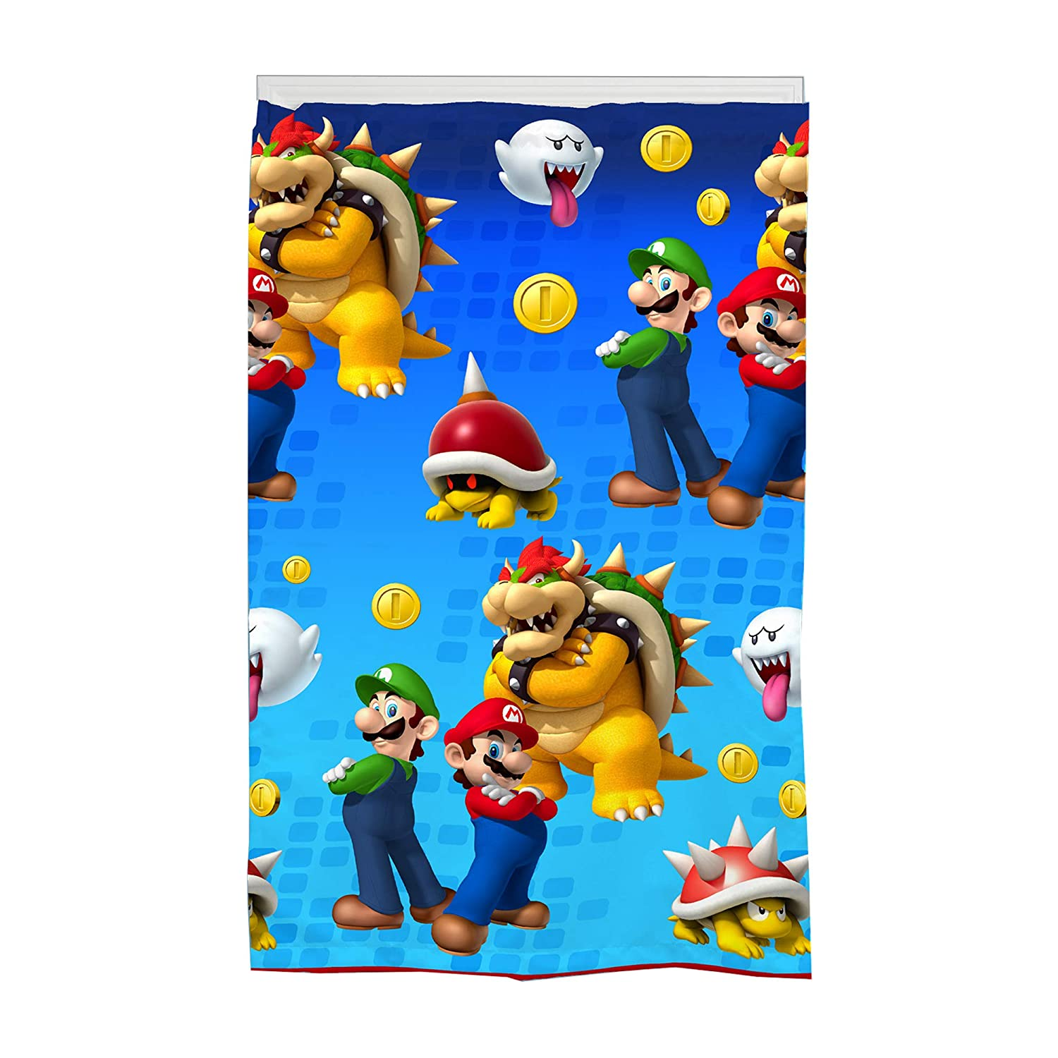 "Nintendo Super Mario Kids Room Darkening Window Curtain Panel, 42"" x 63"", Blue"
