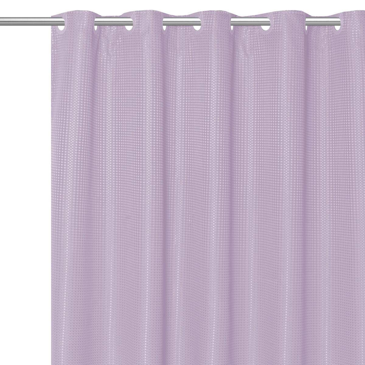 DN_LIN Stylish EZ ON Waffle Weave Fabric Shower Curtain with Snap Off Liner 70''x75''- Lilac.