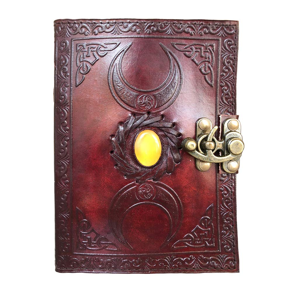 Natural Handicraft Handmade Leather Journal Notebook Triple Moon Solar Plexus Stone Embossed Wicca Pagan Organizer Daily Planner Office Handbook College Diary Sketchbook 5 x 7 inches