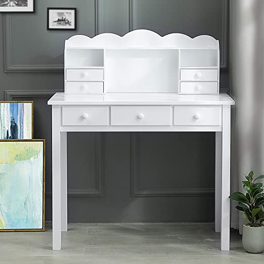Amazon Com Adorneve Writing Desk With 7 Drawers Home Office Desk Student Desk Study Table Computer Work Station With Detachable Hutch Writing Table Solid Pine Wood Legs White Kitchen Dining