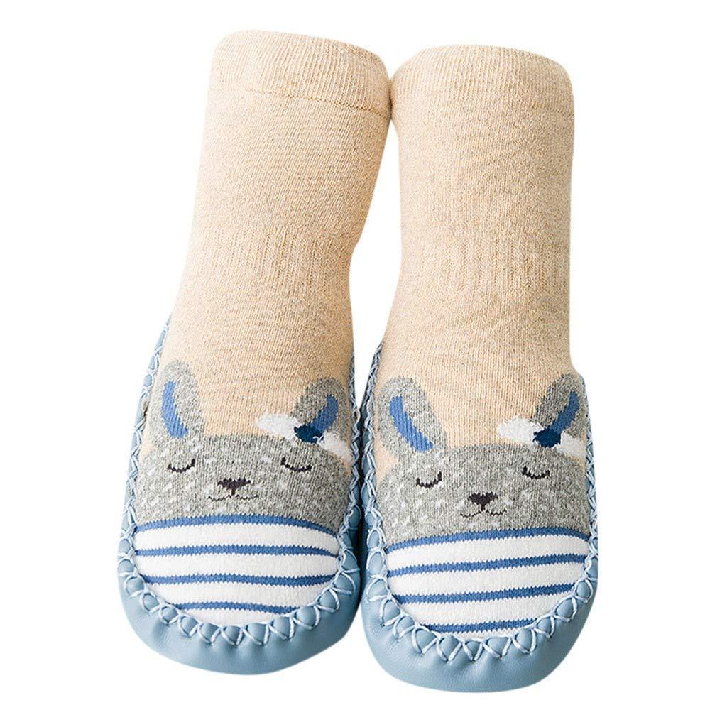 NUWFOR Newborn Baby Boys Girls Cartoon Cute Warm Floor Socks Anti-Slip Baby Step Socks(Beige,10-18Months)