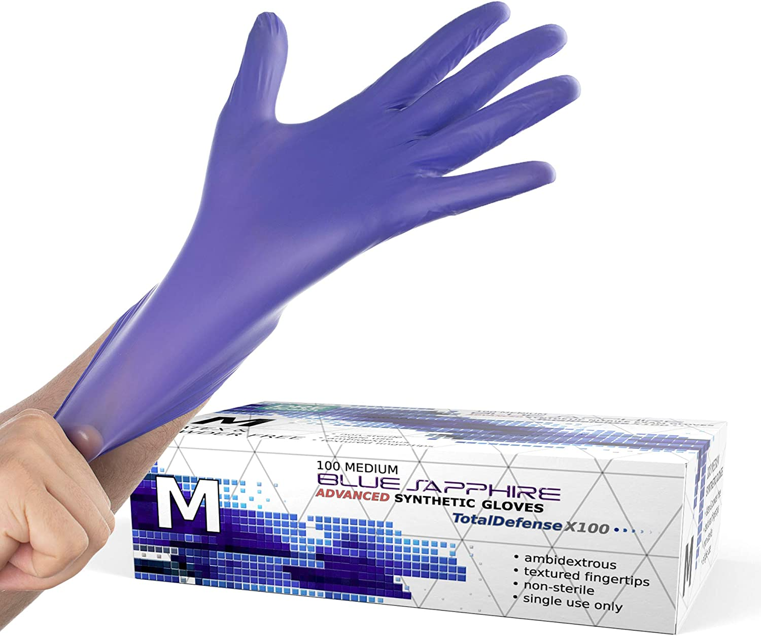 Powder Free Disposable Gloves Medium - 100 Pack - Nitrile and Vinyl Blend Material - Extra Strong, 4 Mil Thick - Latex Free, Food Safe, Blue - Medical Exam Gloves, Cleaning Gloves