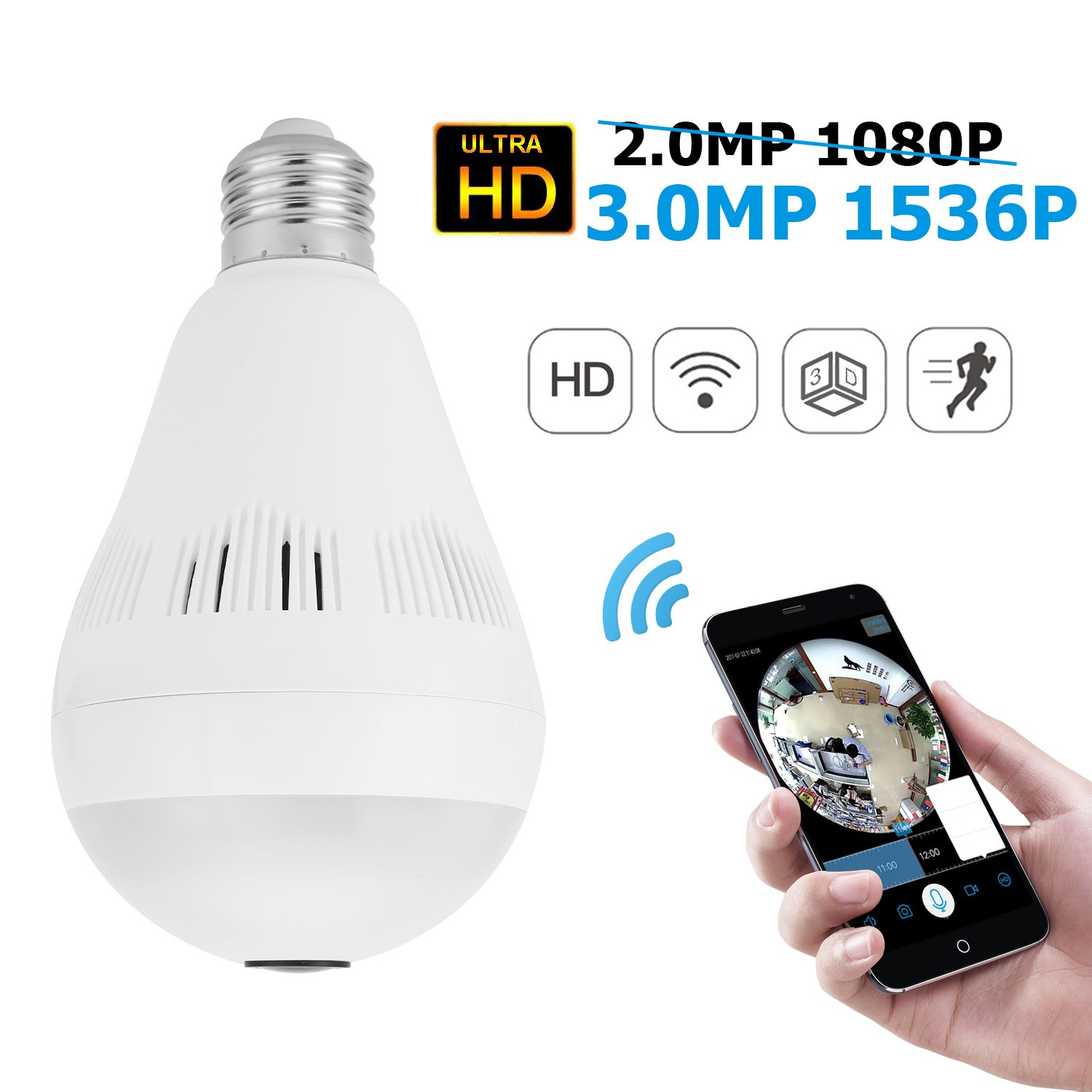 Wireless Hidden Home Camera,VR 360 Panoramic Ultra HD 1536P WIFI Light Bulb IP Camera Indoor Surveillance System with Night Vision and Motion Detection Compatible with Android IOS