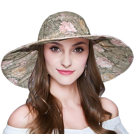 7877d844585 Women Summer Sun Hat Outdoor Foldable Wide Brim Beach Cap Grey at ...