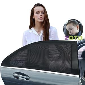 Fenêtre voiture,ZOTO Amélioration Pare-soleil Voiture pour Bébés,Universelle Nuances de Fenêtre Latérale Arrière Offre une Protection UV Maximale pour Bébé, Enfant,chien (2 Pack)