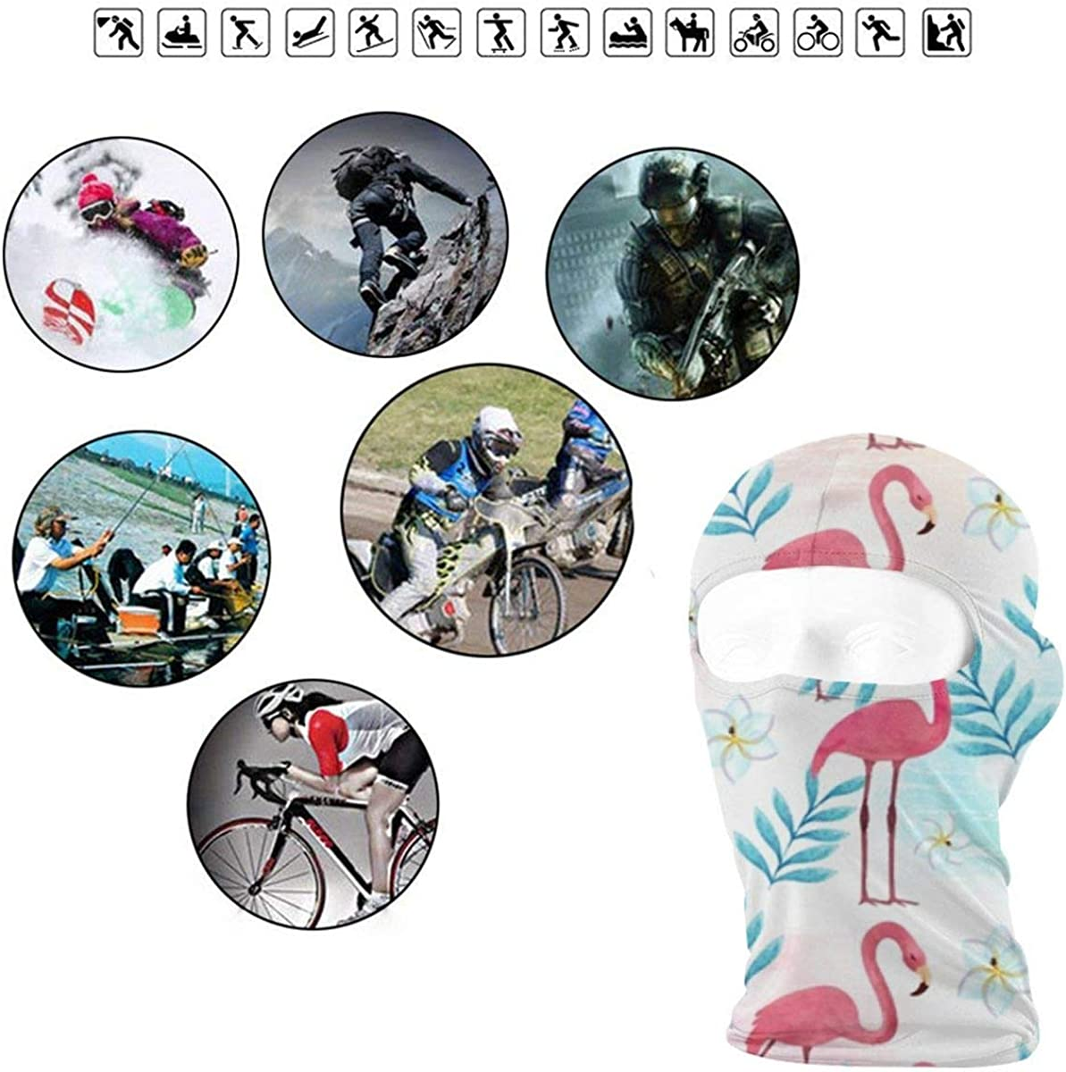 CAClifestyle Flamingo Pattern in Watercolor Style Unisex Windproof Balaclavas Full Face Mask Hood