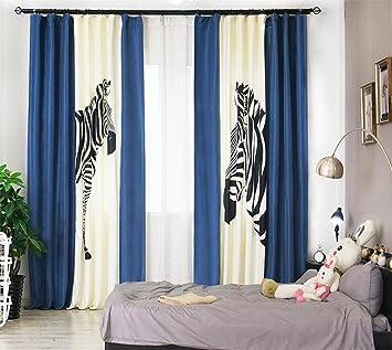 GFYWZ Lino de algodón Zebra Impresión digital Cortinas ...