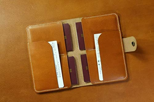 : Brown vegetable tanned leather family passport