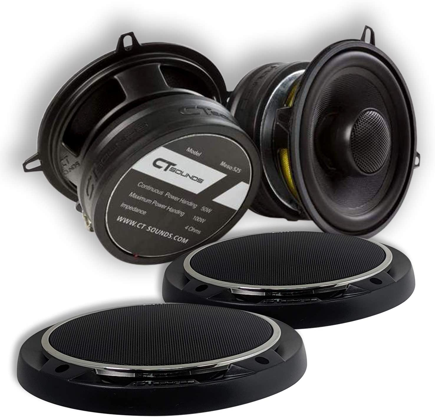"""CT Sounds 5.25 Inch Car Audio Coaxial Speakers Set - Pair, Full Range , Easy Mounting, 4 ohm 1.4"""" Voice Coil, 30Watts Rms/ 60Watts Peak Power, 5.25"""" Carbon Fiber Cone - Meso 5.25"""