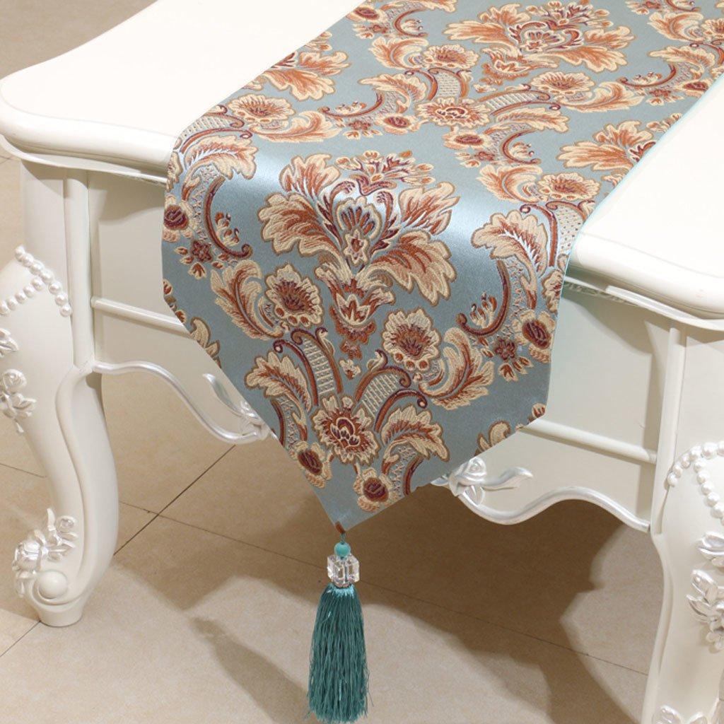 Promoción por tiempo limitado LINGZHIGAN Azul patrón de la flor Satén Mesa corredor Moderna simple de la moda Salón de lujo Cocina Restaurante Hotel Textiles para el hogar (Este producto sólo vende corredor de mesa) 33  230cm