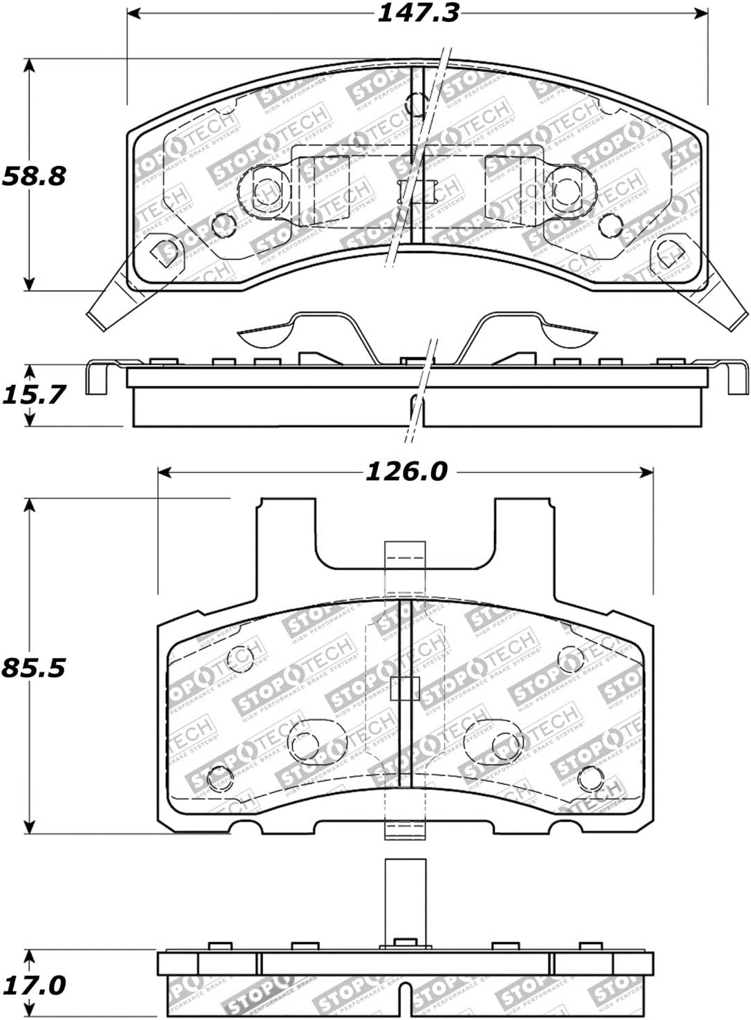 StopTech 309.03700 Street Performance Front Brake Pad