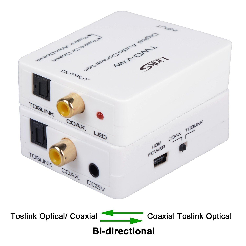 Bi-directional Digital Audio Switch Splitter Converter Adapter,LinkS Digital  2-Way Optical