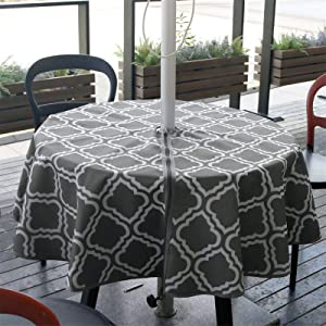 JLDTOP Round Outdoor Tablecloth with Umbrella Hole Waterproof, Spillproof Polyester Fabric Durable Patio Umbrella Tablecloth with Zipper for Patio Garden Tabletop Decor (60