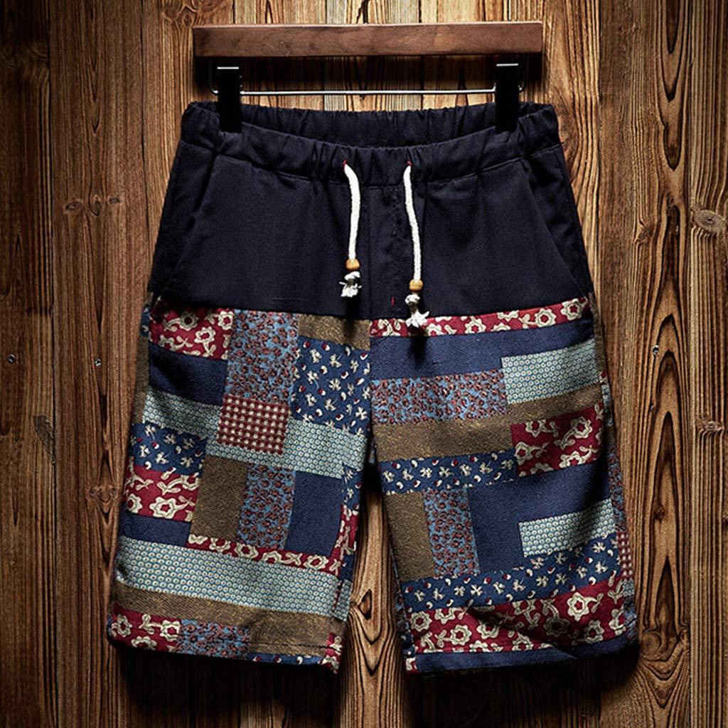 Mens Beach Shorts Vine/_MINMI New Swimsuits Summer Casual Swim Trunks Ethnic Style Printed Loose Cotton Hemp Pant