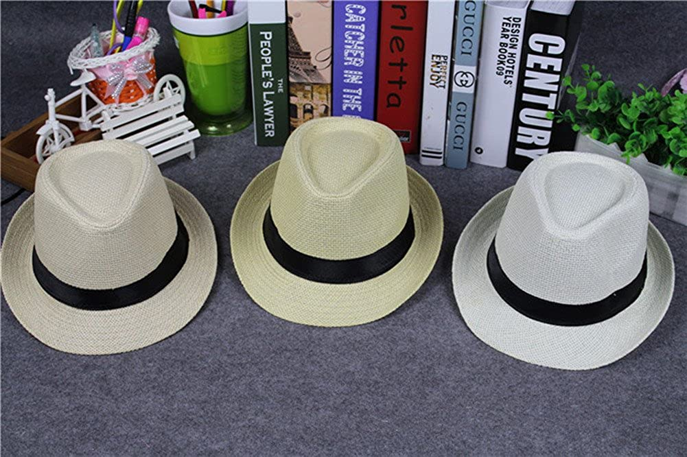 Outflower Classic Retro Panama Hat Foldable Fedora Jazz Cap Beach Vacation Hat in Summer