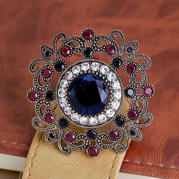 Vioness Brooch Pin for Women Girls Alloy Bouquet of Flowers Shimmering Petal Rhinestone Accessory Dress Bling Jewellery Beige Pink Blue
