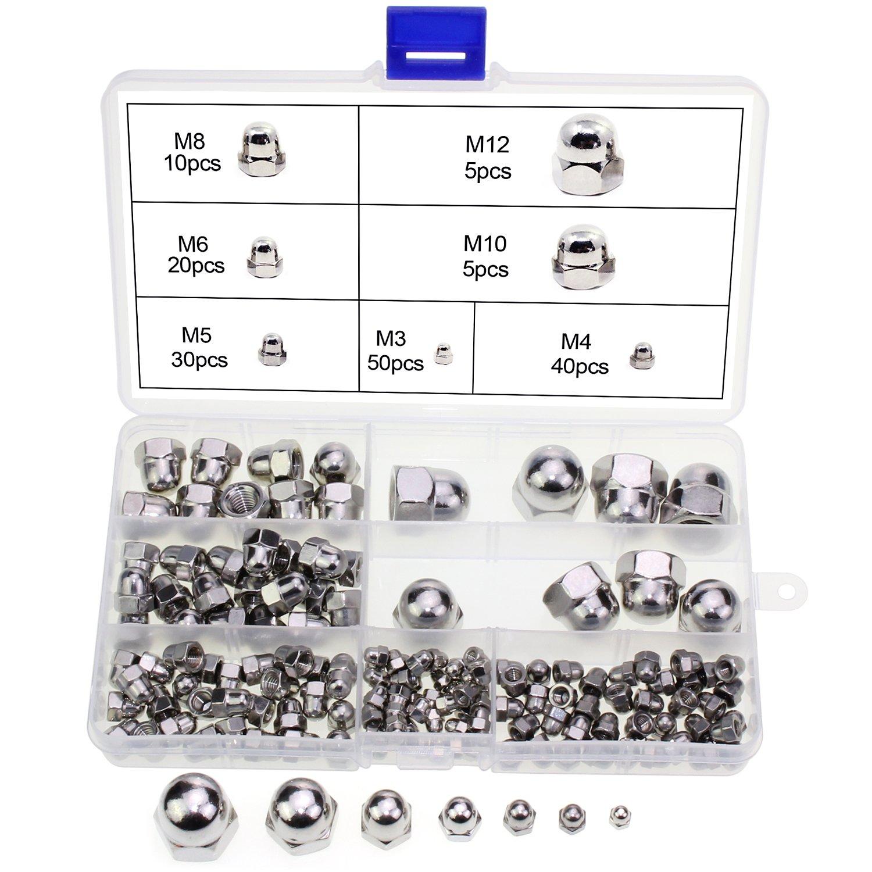 OCR 160PCS Acorn Dome Cap Head Hex Nuts Stainless Steel M3 M4 M5 M6 M8 M10 M12 Acorn Nuts Assortment Kit (7 Size-160pcs)