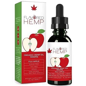 Flavored Hemp Oil - 1000 Mg - Fuji Apple - 100% Organic Hemp Extract Drops  - Natural Pain Stress