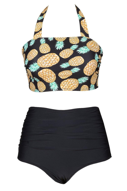 8162fea46 Amazon.com  CUPSHE Women s Solid Halter One Piece Swimsuit High Waisted  Bikini Set Beach Swimwear  Clothing