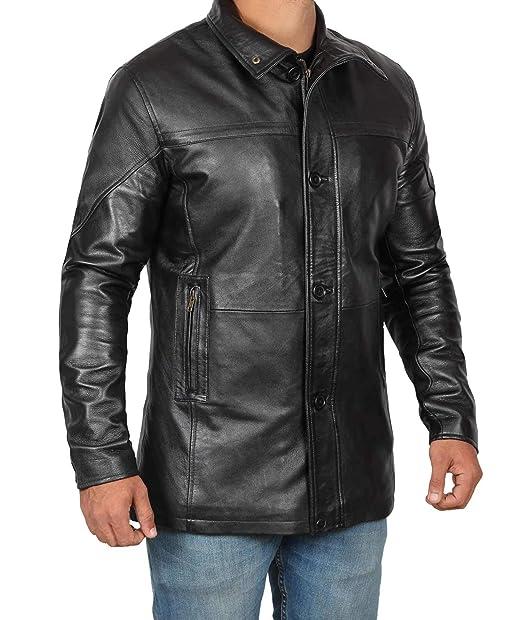 48b5ee710 Genuine Black Leather Jacket Men - Lambskin Motorcycle Mens Leather Jackets  & Coat