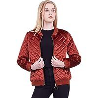 Amandina Luxe Women's Raglan CasualQuilted Full Zipper Bomber Jacket Coat