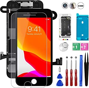 Mobkitfp for iPhone 8/SE 2020 Screen Replacement Full Assembly Black with Front Camera+Ear Speaker+Sensors, 4.7