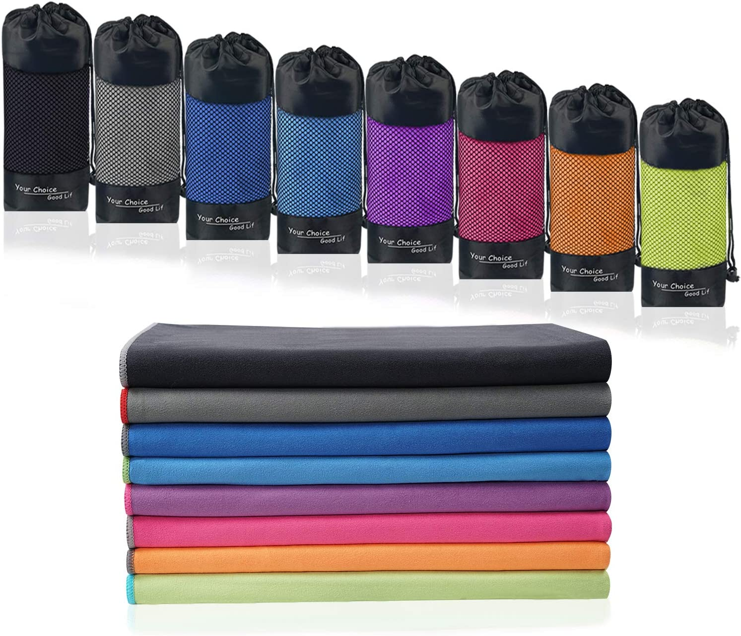 Your Choice Microfiber Travel Towel, Fast Drying Towel for Camping, Travel, Beach, Gym, Backpacking, Sports and Swimming. Sweat Absorbent, Lightweight and Ultra Compact