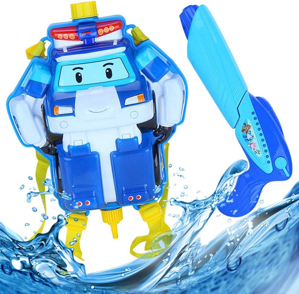 Baipin Mochila Camión de Bomberos Infantil Pulverización de Agua de Juguete y Pistolas de Agua para Niños, 1.5L Pistolas de Super Soaker Juguetes de Verano para Piscina de Playa, Azul