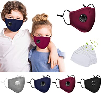 KIDS Cover free Filter Face Shiled  Breathable Valve Cotton Dustproof Washable