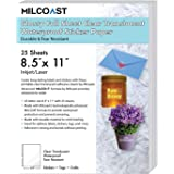 "Milcoast Glossy Full Sheet 8.5"" x 11"" Clear Translucent Waterproof Adhesive Sticker Paper Labels - 25 Sheets"