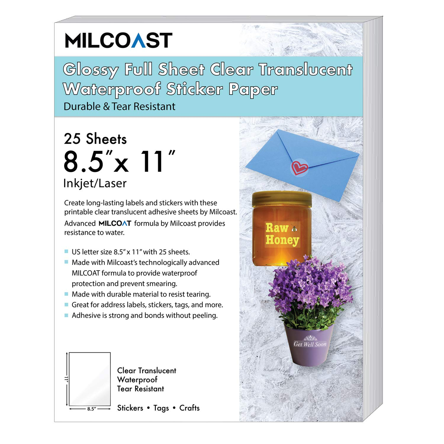 Milcoast Glossy Full Sheet 8.5'' x 11'' Clear Translucent Waterproof Adhesive Sticker Paper Labels - 25 Sheets