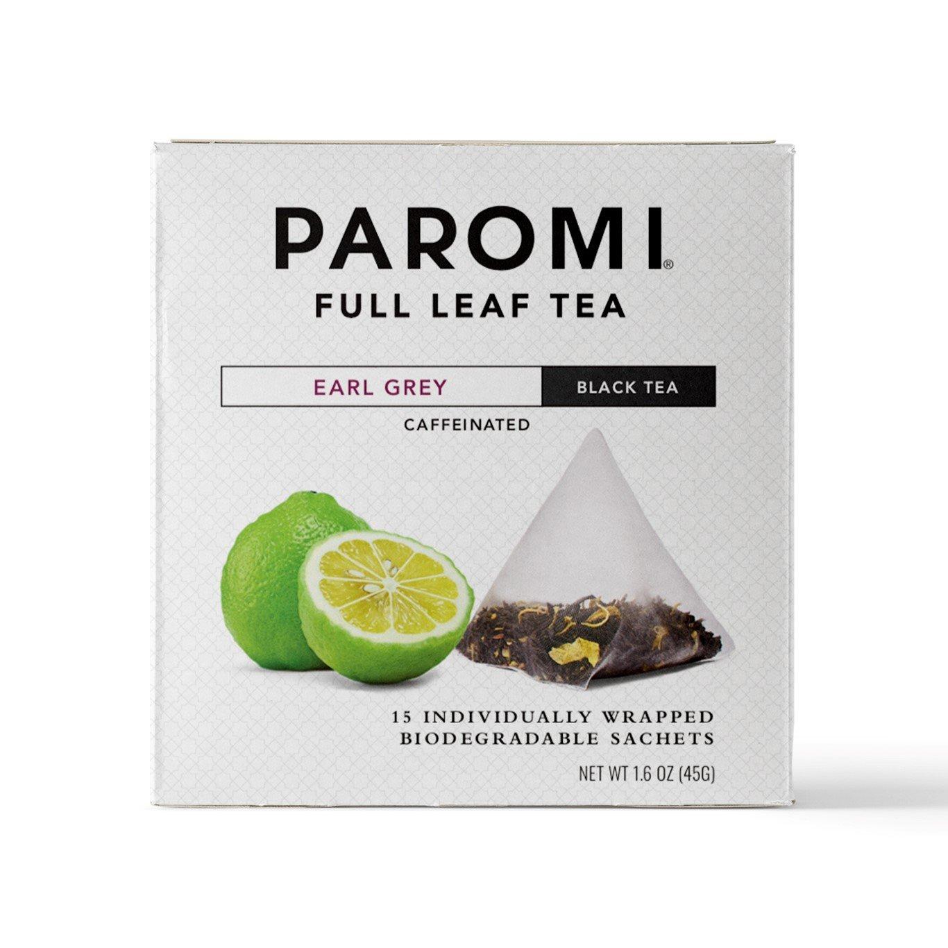 Paromi Tea Earl Grey Black Tea, 15 Pyramid Tea Bags (Pack of 6) Non-GMO