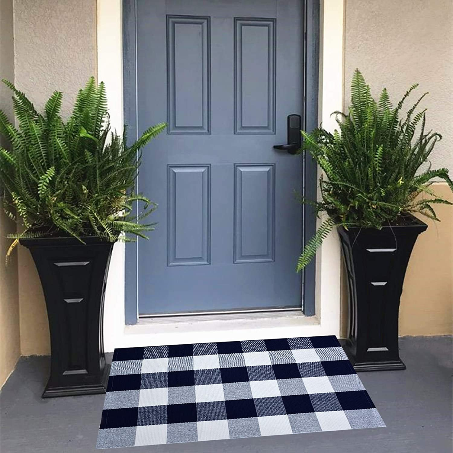 USTIDE Buffalo Plaid Check Rug Navy Blue and White Cotton Rugs 23.6