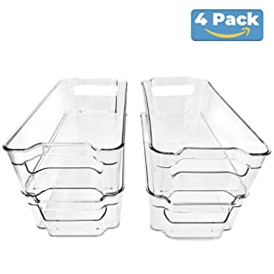 (4 Pack) Pantry and Refrigerator Organizer Bins for Kitchen and Cabinet Storage | Stackable Food Bins with Handles | BPA FREE Fridge and Freezer Containers | Clear