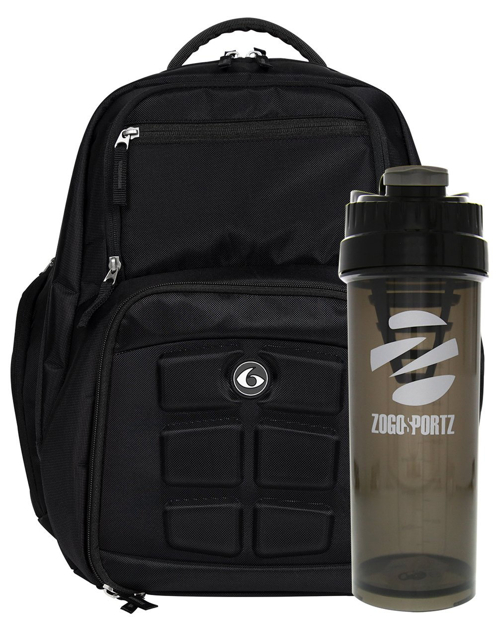 6 Pack Fitness Expedition Backpack Meal Mangement System 300 Stealth Black w/Bonus Zogosportz Cyclone Shaker