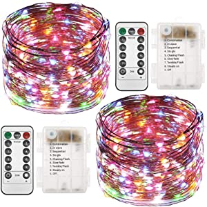 Twinkle Star 2 Set Christmas Fairy Lights Battery Operated, 33ft 100 Led String Lights Remote Control Timer Twinkle String Lights 8 Modes Firefly Lights for Garden Party Indoor Decor, Multicolor
