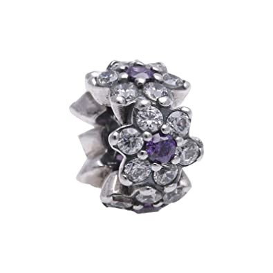 908ebd867 Image Unavailable. Image not available for. Color: Pandora Sterling Silver Forget  Me Not Spacer Charm 791834ACZ