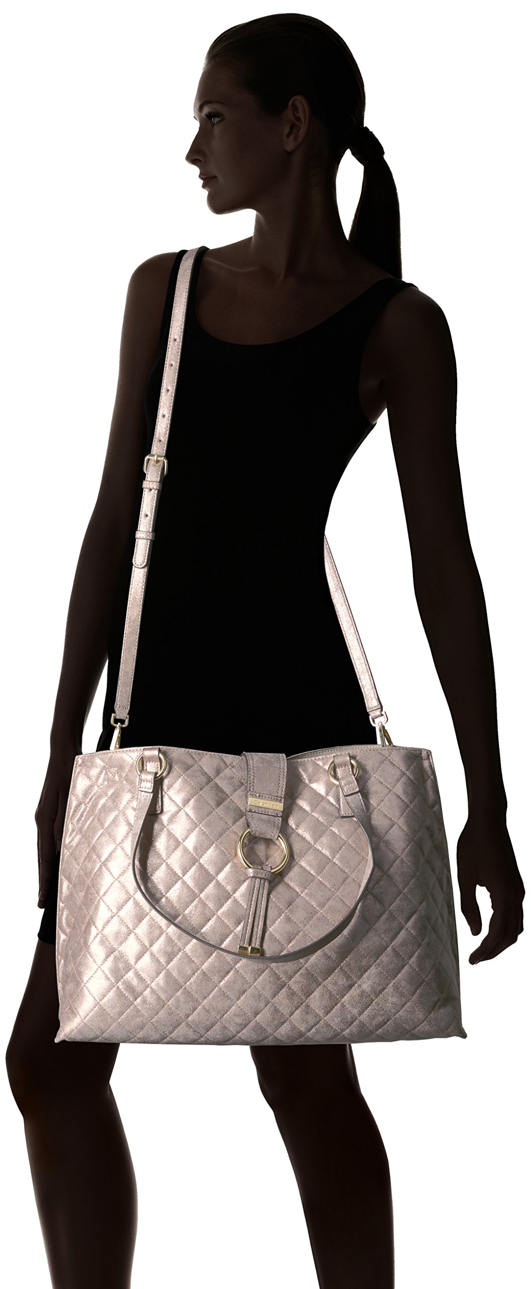 Calvin Klein Quilted Distressed Novelty Tote, Mtallic Taupe by Calvin Klein (Image #7)