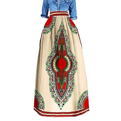 Abetteric Womens Dashiki Flower Print Cotton Over Waist Plus Size A-Line Long Maxi Skirt