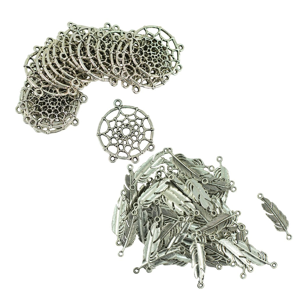 Baosity 120pcs Vintage Alloy Metal Dream Catcher Charms Pendant + 100pcs Feather Leaf Jewelry Finding