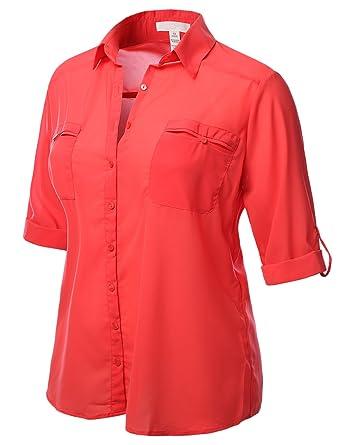 J.TOMSON PLUS Womens Long Sleeve Button Down Shirt Plus Size CORAL ...