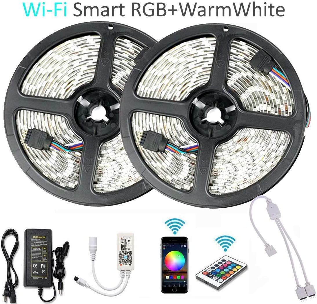 Goldwin WiFi Smart 32.8ft 10M 600 LEDs RGBW LED Light Strip,RGB + Warm White Compatible with Alexa,Google Assistant,IFTTT,Wireless Smart Phone App Control and IR Remote Control,4 in 1 RGBW Rope Light