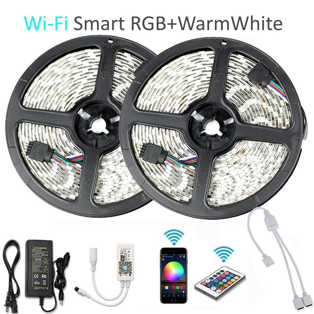 Goldwin WiFi スマート 32.8フィート 10M 600 LED RGBW LED ライト ストリップ、RGB + ウォームホワイト Alexa、Google アシスタント、IFTTT、ワイヤレススマートフォンアプリコントロール、IRリモートコントロール、4 in 1 RGBW ロープ ライト B07QXS2XZR