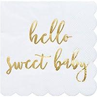 Servilletas de cóctel, paquete de 50 servilletas de papel desechables con bordes festoneados, papel de aluminio dorado…