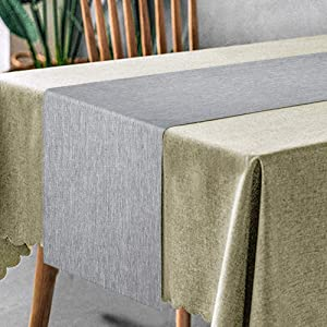 AOM Table Runner - 14 x 72 Inch Table Runner, Linen and Cotton Kitchen Dining Table Runner for Farmhouse, Wedding, Holiday Parties, Rustic Decorations - Machine Washable, Gray