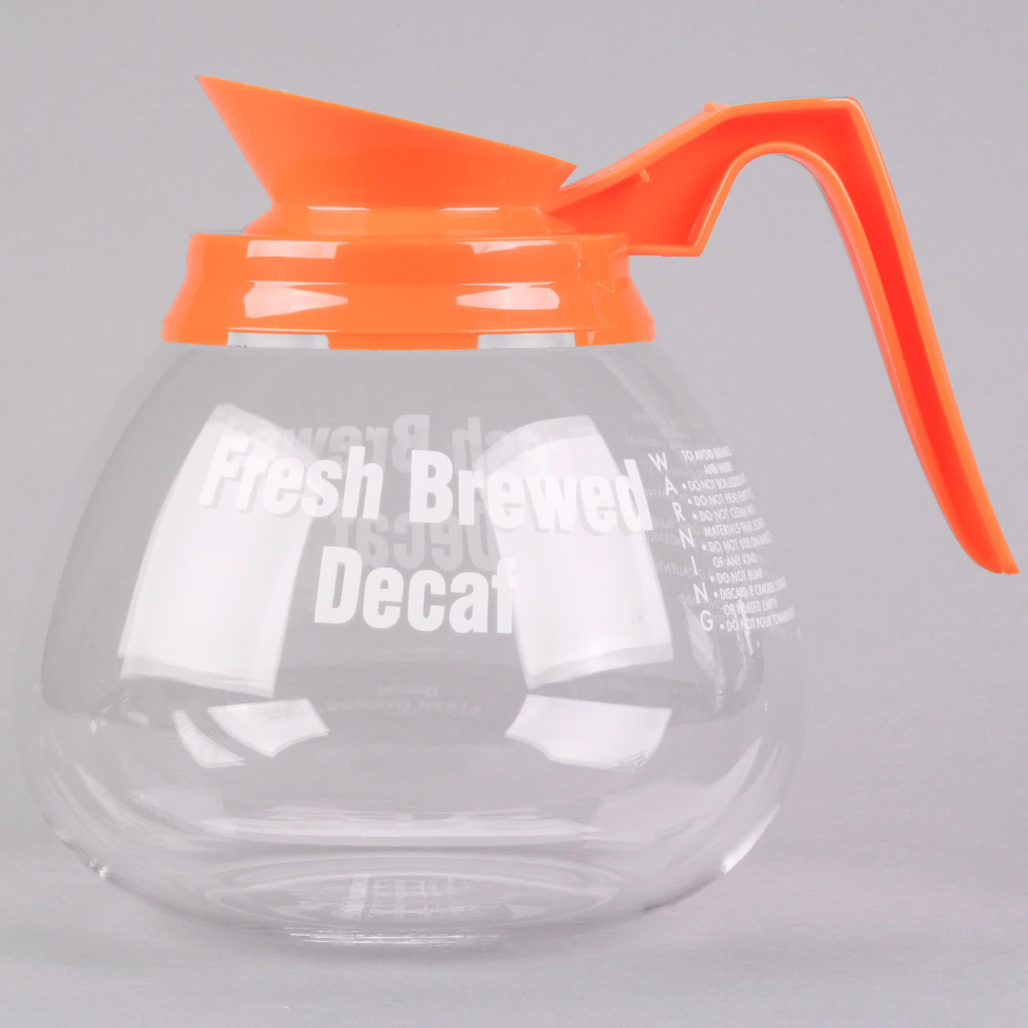 TableTop King 98006 64 oz. Glass Coffee Decanter with Orange Decaf Handle - 3/Pack