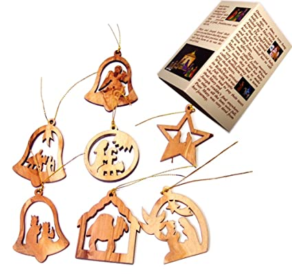 olive wood complete 7 piece christmas ornament set nativity story